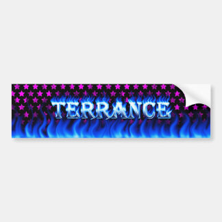 Terrance blue fire and flames bumper sticker desig