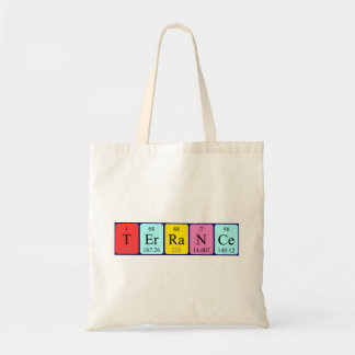Terrance periodic table name tote bag