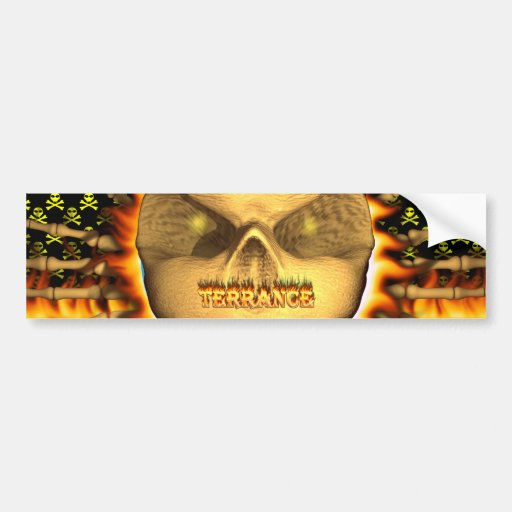 Terrance skull real fire and flames bumper sticker
