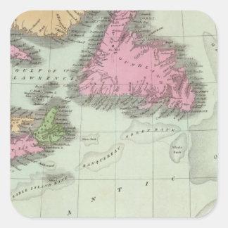 Terranova Nueva Escocia y Nuevo Brunswick Pegatina Cuadrada