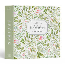 Terrarium Botanical Bridal Shower Recipe Binder