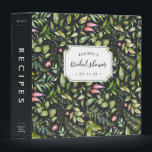 """Terrarium Botanical Bridal Shower Recipe Binder<br><div class=""""desc"""">Collect recipes for the bride to be and organize them in this pretty floral binder with tons of personalization options! Chic off-black binder features a pattern of tropical fern foliage, green leaves and pink flowers. Customize the front with the bride to be&#39;s name and shower date, and add customization to...</div>"""