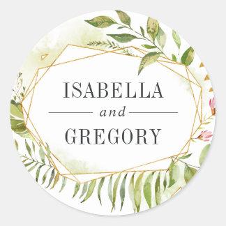 Terrarium   Green Botanical Wedding Classic Round Sticker