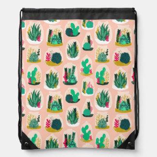Terrarium Succulent Plant Cactus / Andrea Lauren Drawstring Bag