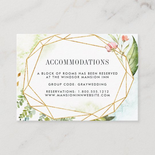 Terrarium Wedding Hotel Accommodation Cards Zazzlecom