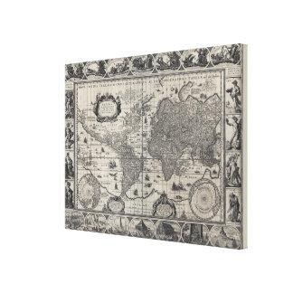 Terrarum del totius de Nova, mapa del mundo antigu Impresiones En Lona