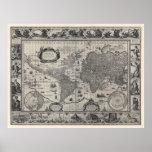 Terrarum del totius de Nova, mapa del mundo antigu Poster