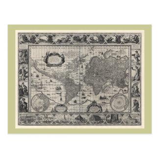 Terrarum del totius de Nova mapa del mundo antigu Tarjeta Postal