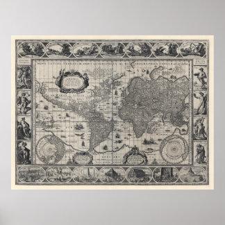 Terrarum del totius de Nova, mapa del mundo antigu Póster