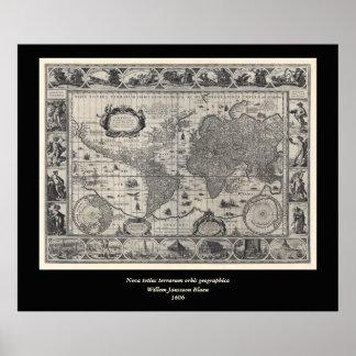 Terrarum del totius de Nova, mapa del mundo Póster