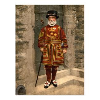 Terrateniente del guardia, torre de Londres c.1895 Tarjeta Postal