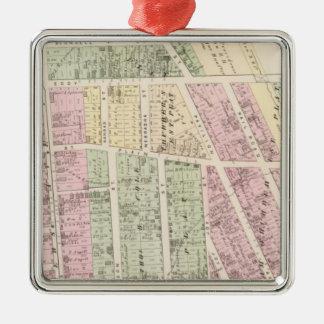 Terratenientes, mapas del edificio de tienda adorno navideño cuadrado de metal