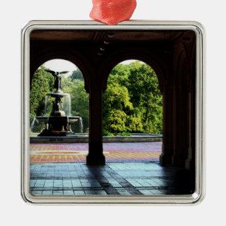 Terraza de Bethesda en foto del Central Park de Adorno Cuadrado Plateado