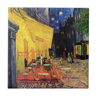 Terraza del café de la noche de Van Gogh en el Azulejo Cuadrado Pequeño