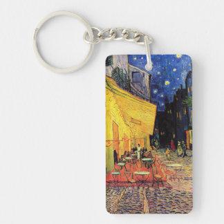 Terraza del café de la noche de Van Gogh en el Llavero Rectangular Acrílico A Doble Cara