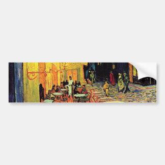 Terraza del café de la noche de Van Gogh en el Pegatina Para Auto
