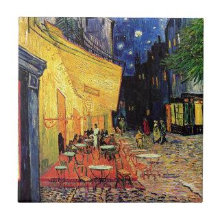 Terraza del café de Van Gogh en la noche Azulejo Cuadrado Pequeño