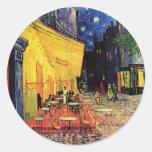 Terraza del café de Van Gogh en la noche Pegatinas Redondas