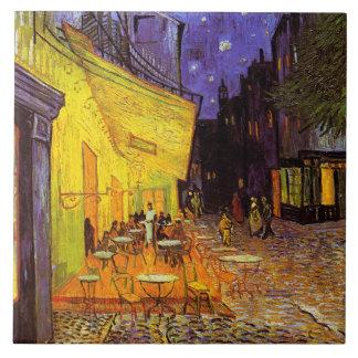 Terraza del café de Vincent van Gogh en la bella Azulejo Cuadrado Grande
