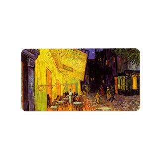 Terraza del café de Vincent van Gogh en la bella Etiquetas De Dirección