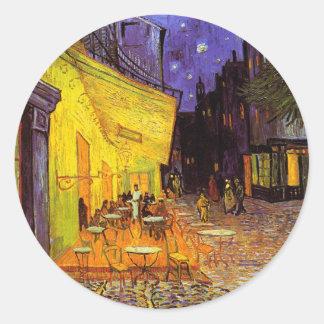 Terraza del café de Vincent van Gogh en la bella Pegatina Redonda