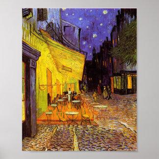 Terraza del café de Vincent van Gogh en la bella Póster