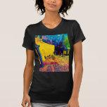 Terraza del café del arte pop de Van Gogh en la no Camisetas