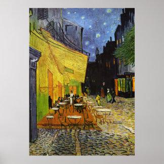 Terraza del café en el poster de Van Gogh de la