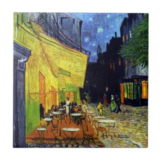 Terraza del café en la noche de Vincent van Gogh Azulejo Cuadrado Pequeño