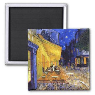 Terraza del café en la noche de Vincent van Gogh Imán Cuadrado