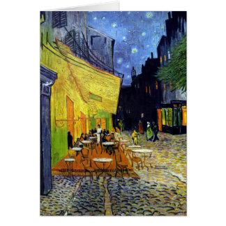 Terraza del café en la noche tarjeta