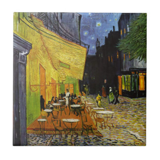 Terraza del café en la noche Van Gogh Azulejo Cuadrado Pequeño