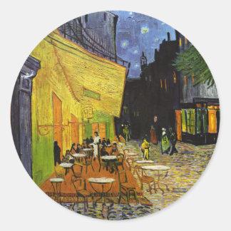 Terraza del café en la noche Van Gogh Pegatina Redonda