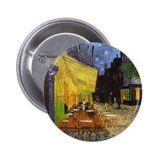 Terraza del café en la noche Van Gogh Pin Redondo 5 Cm