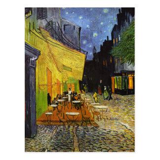 Terraza del café en la noche Van Gogh Postal
