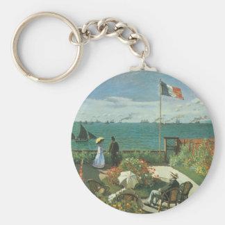 Terraza en la playa de Claude Monet Llavero Redondo Tipo Pin