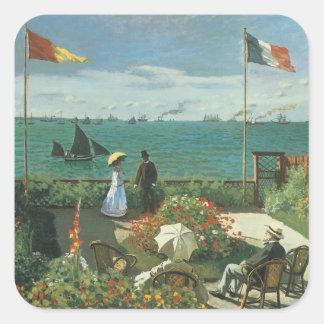 Terraza en la playa de Claude Monet Pegatina Cuadrada