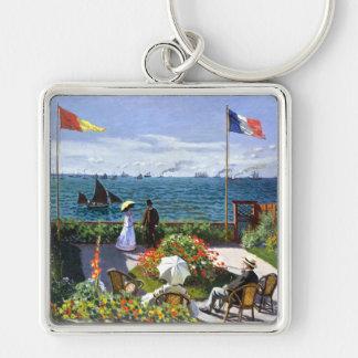 Terraza en Sainte Adresse, Claude Monet Llavero Cuadrado Plateado