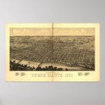 Terre Haute 1880, EN mapa panorámico de la opinión Impresiones