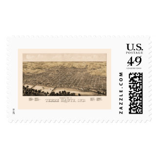 Terre Haute, IN Panoramic Map - 1880 Postage Stamp