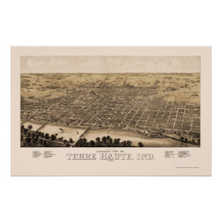 Terre Haute, IN Panoramic Map - 1880 Poster