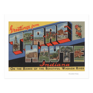 Terre Haute, Indiana - Large Letter Scenes Postcard