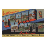 Terre Haute, Indiana - Large Letter Scenes Poster