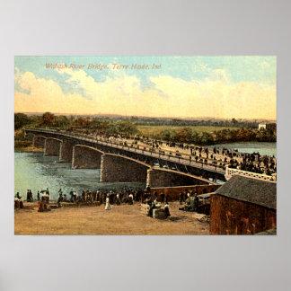 Terre Haute, Indiana Wabash River Bridge Poster