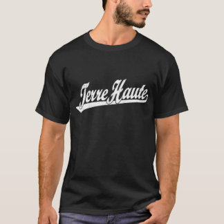 Terre Haute script logo in white distressed T-Shirt