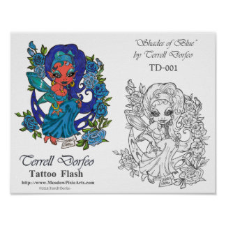 "Terrell Dorfeo Tattoo Flash ""Shades of Blue"" Poster"