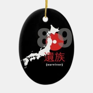 Terremoto 8,9 de Japón Adorno Navideño Ovalado De Cerámica