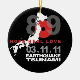 Terremoto 8,9 de Japón Adorno Navideño Redondo De Cerámica