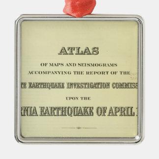 Terremoto de California del atlas de la página de Adorno Cuadrado Plateado