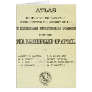 Terremoto de California del atlas de la página de  Tarjeta De Felicitación